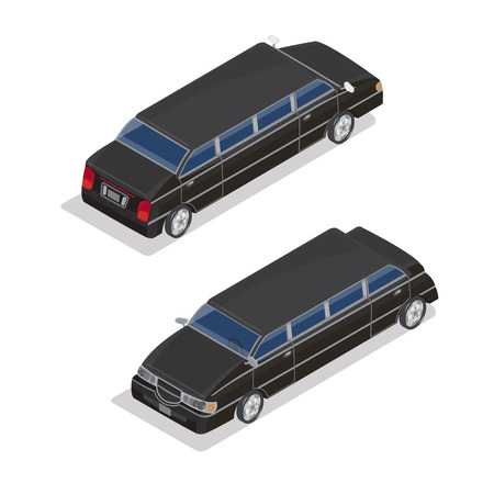 limousine: Isometric Transportation. Luxury Limousine Car. Isometric Car. Vector illustration