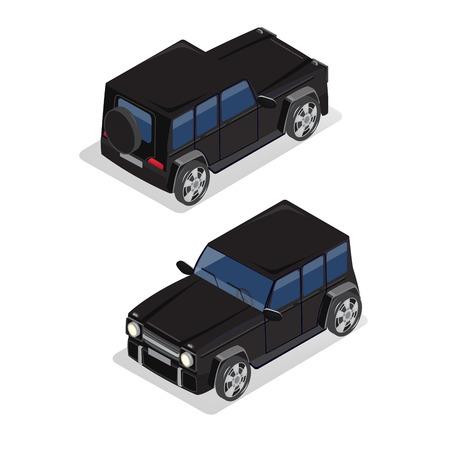 motor de carro: Transporte isom�trica. Coche campo a trav�s. Coche isom�trico. ilustraci�n vectorial