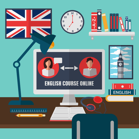 Learning English Online. Online Training Courses. English Language School. Online Education. Vector illustration