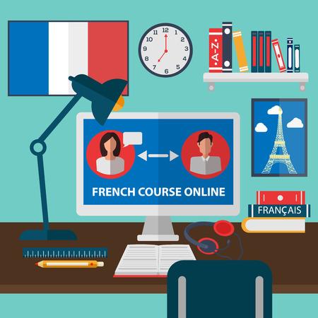 Apprendre le français en ligne. Cours de formation en ligne. Ecole de langue française. Education en ligne. Vector illustration