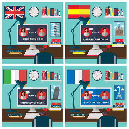 foreign language: Learning Foreign Language Online. Online Training Courses. Language School. Online Education. Vector illustration