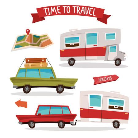 family van: Travel Transportation Set. Travel Camper. Family Van. Vector illustration Illustration
