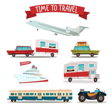 atv: Travel Transportation Set. Camper and Car. Train and Plane. ATV Motorcycle. Passenger Ship. Vector illustration