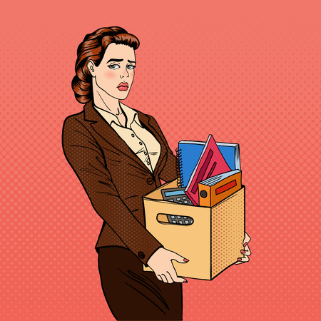 belongings: Fired Woman. Disappointed Businesswoman. Fired Office Worker Holding Box with Belongings. Pop Art. Vector illustration