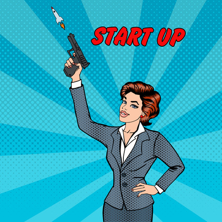 woman with gun: Businesswoman Gives a Start to New Project. Business Woman. Business Lady with Gun. Start Up. Pop Art. Vector illustration
