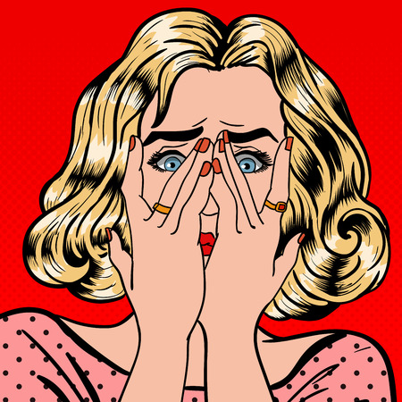 closes eyes: Shocked Woman. Woman Closes Eyes with Her Hands. Pop Art. Vector illustration