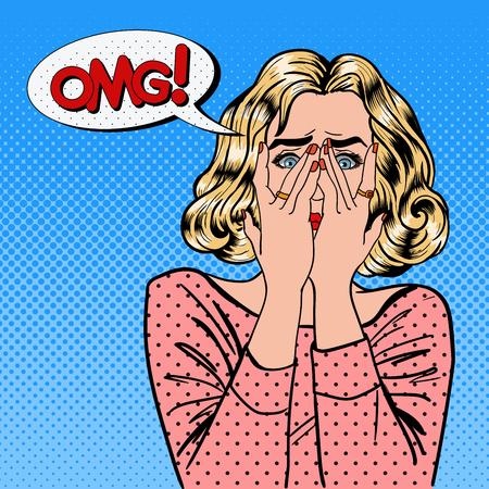 Geschokte Vrouw. Vrouw sluit ogen met haar handen. Pop Art. vector illustratie