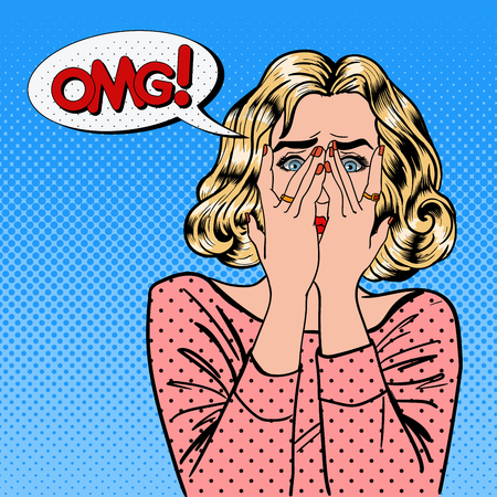 Shocked Woman. Woman Closes Eyes with Her Hands. Pop Art. Vector illustration Imagens - 56555567