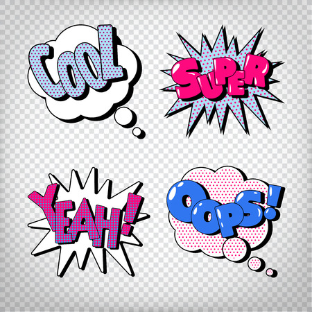 yeah: Comic Bubbles with Expressions. Pop Art Bubbles. Transparent Vector illustration
