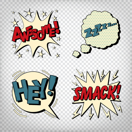 Comic Bubbles with Expressions. Pop Art Bubbles. Transparent Vector illustration