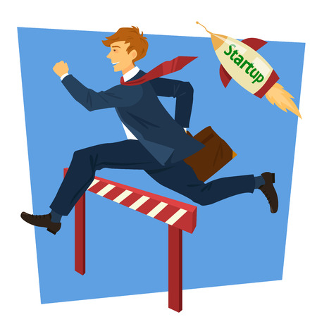 businessman jumping: Running Businessman Jumping Over Barrier. Business Startup. Vector illustration