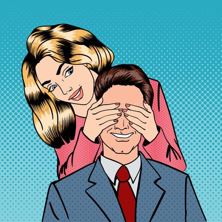 여자가 그녀의 남자 눈을 감고. 여자는 그녀의 남자 친구를 놀라게. 행복한 커플. 팝 아트. 벡터 일러스트 레이 션 일러스트