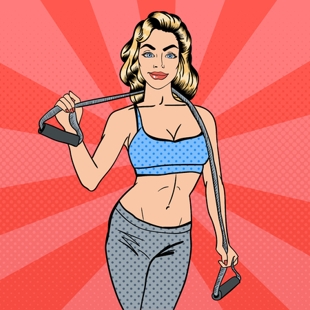 exercices: Woman with Sport Equipment. Fitness Girl. Athletic Woman. Pop Art. Vector illustration Illustration
