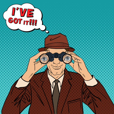 spying: Detective with Binoculars. Man in Hat Spying for Somebody. Vintage Detective. Pop Art. Vector illustration