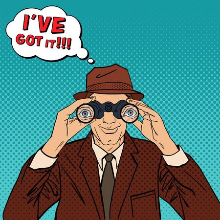 El detective con los prismáticos. Hombre en sombrero de espionaje a favor de alguien. El detective de la vendimia. Arte pop. ilustración vectorial Ilustración de vector