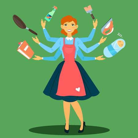 multitasking: Successful Housewife. Multitasking Woman. Perfect Wife. Young Mother. Vector illustration Illustration