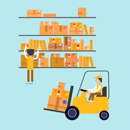 parcels: Postmen Laid Parcels. Worker on Forklift. Post Office. Postal Storage. Vector illustration Illustration