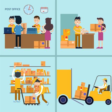 Post Office. Woman Receiving Parcel. Postal Service. Man Sending Letter. Postal Storage. Vector illustration