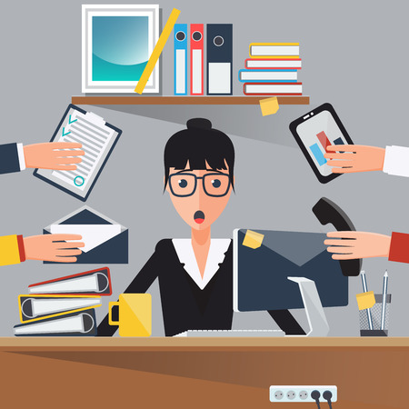 Businesswoman at Work. Shocked Woman. Business Lady. Busy Businesswoman. Vector illustration  イラスト・ベクター素材