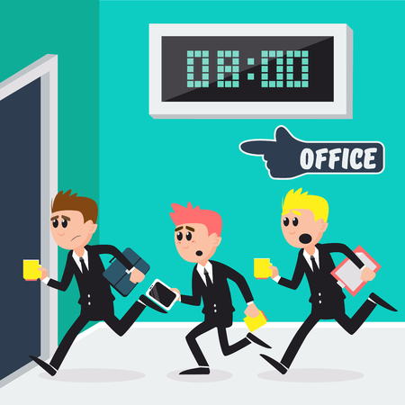 workday: Workers Running to Office. Businessmen Going to Work. Vector illustration