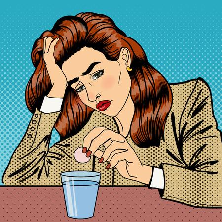 woman headache: Stress at Work. Girl Drinking Pills. Business Woman. Woman has a Headache. Pop Art. Vector illustration