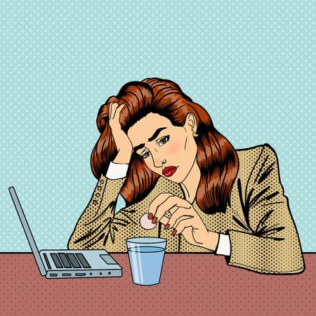 El estrés en el trabajo. Muchacha de consumición de las píldoras. Mujer de negocios. La mujer tiene un dolor de cabeza. Arte pop. ilustración vectorial