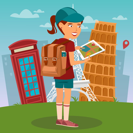 woman tablet: Tourist Girl. Navigation Map on Tablet. Tourist Using Mobile Navigator. Woman with Backpack. Vector illustration