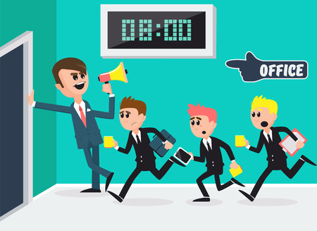 Boss with Megaphone. Workers Running to Office. Businessmen Going to Work. Vector illustration