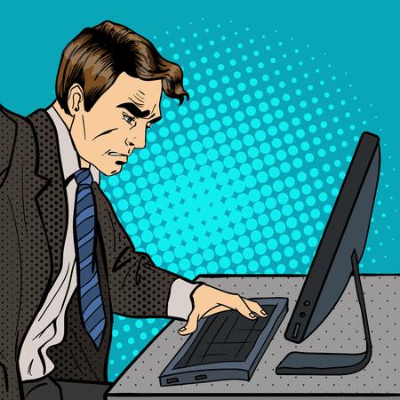 uncomfortable: Anger Businessman. Businessman Works at the Computer. Pop Art. Vector illustration