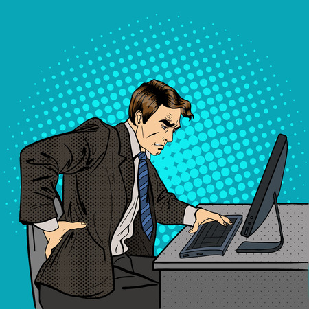 Biznesmen cierpienia z bólem pleców. Biznesmen w pracy. Pop Art. ilustracji wektorowych Ilustracje wektorowe