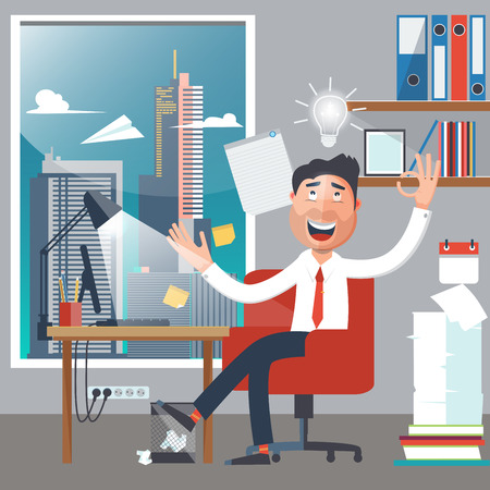 Businessman at Work. Man had an Idea. White Collar in Office. Successful Businessman. Vector illustration Ilustrace