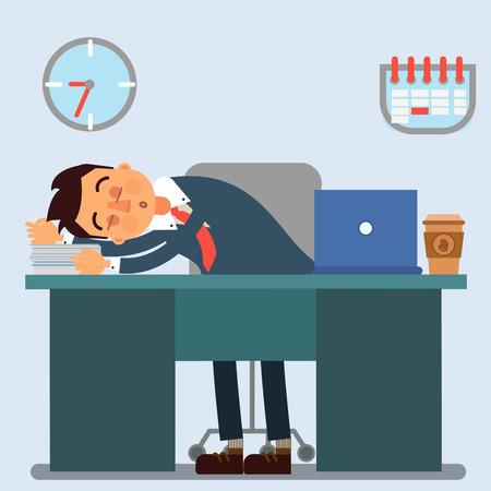 sleeping businessman: Businessman Working Day. Sleeping Businessman at Work. Office Life. Vector illustration