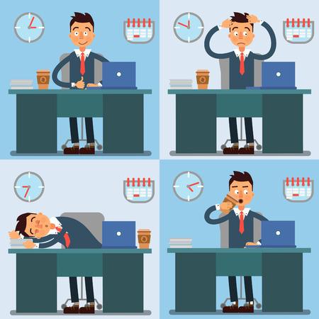 jornada de trabajo: D�a de Trabajo del hombre de negocios. El hombre de negocios en el trabajo. Vida en la oficina. ilustraci�n vectorial