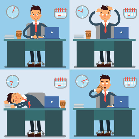 Businessman Working Day. Businessman at Work. Office Life. Vector illustration