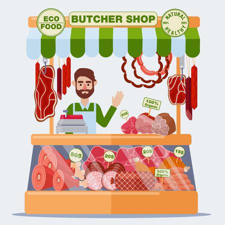 精肉店。肉の販売。肉製品。ベクトル図