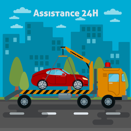 roadside assistance: Car Assistance. Roadside Assistance Car. Tow Truck. Vector illustration