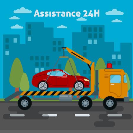 Car Assistance. Assistenza stradale Auto. Tow Truck. illustrazione di vettore
