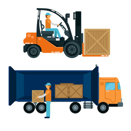 heavy industry: Forklift with Driver. Worker Loading Containers into the Truck. Cargo Industry. Heavy Transportation. Vector illustration