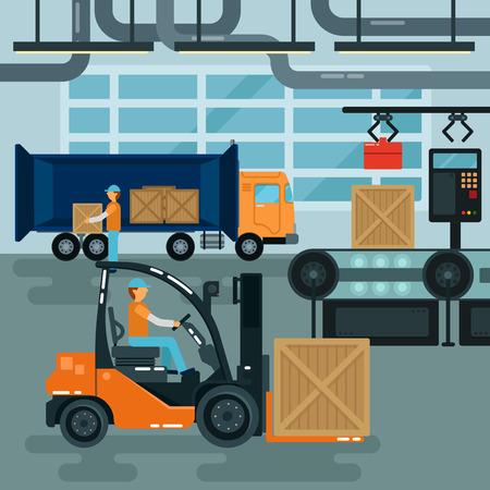 conveyor: Forklift Inside Factory. Cargo Industry. Heavy Transportation. Warehouse Conveyor. Vector illustration