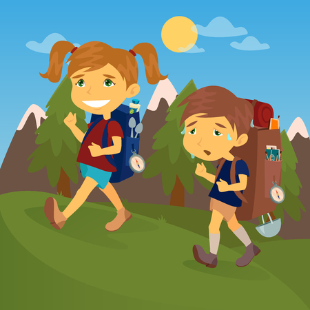 couple hiking: Children with Travel Backpacks. Boy and Girl Scout. Tourists Couple. Vector illustration Illustration