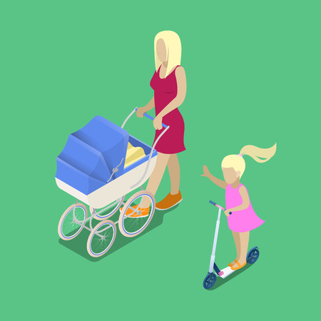 babysitter: Isometric People. Young Mother with Babby Carriage. Girl on the Scooter. Isometric Family. Vector illustration