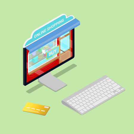 credit card business woman: Online Shopping. Isometric Computer. Electronic commerce. Vector illustration