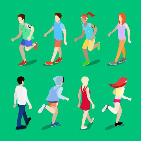 Isometrische People. Rennende man. Lopende Vrouw. Active People. Wandelen Mensen. vector illustratie