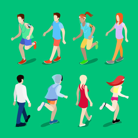Isometric People. Running Man. Running Woman. Active People. Walking People. Vector illustration Illustration