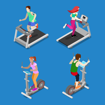 Les gens isométriques. Homme et Femme Running on Treadmill dans Gym. Les gens actifs. Vector illustration