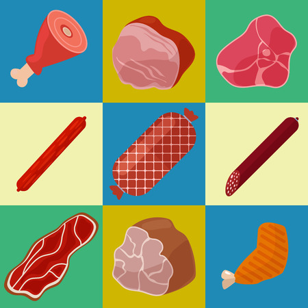 butchery: Meat Icons Set. Butchery Icons. Meat Products. Vector illustration Illustration