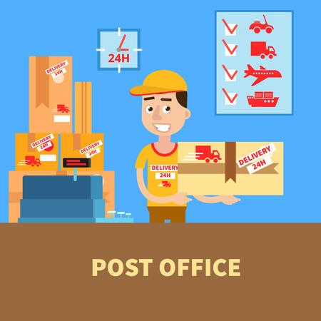 Poczta. Listonosz z działki. Usługi pocztowe. Dostawa. ilustracji wektorowych