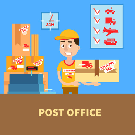 Ufficio postale. Postino con il pacco. Servizio postale. Servizio di consegna. illustrazione di vettore