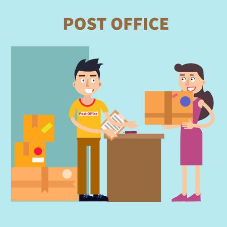 Ufficio postale. Donna invio pacchi. Servizio postale. illustrazione di vettore Vettoriali