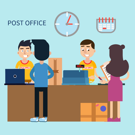 Post Office. Woman Receiving Letter. Postal Service. Man Sending Parcel. Vector illustration